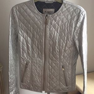 Punto silver leather quilted jacket
